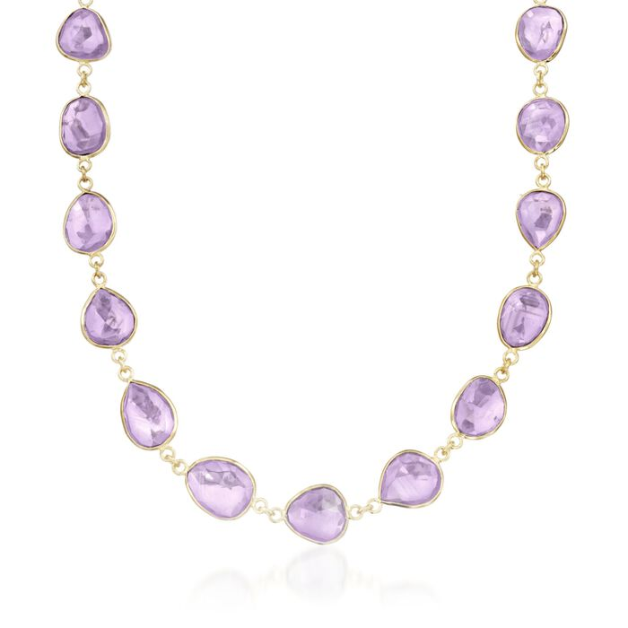 "60.00 ct. t.w. Amethyst Necklace in 14kt Gold Over Sterling Silver. 18"", , default"
