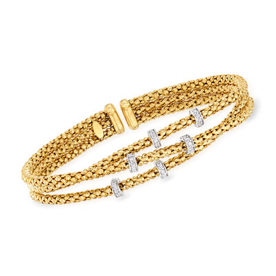 "Phillip Gavriel ""Popcorn"" .30 ct. t.w. Diamond Three-Strand Cuff Bracelet in 14kt Yellow Gold"