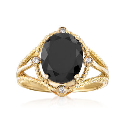 Black Onyx Ring with Diamond Accents in 14kt Yellow Gold, , default