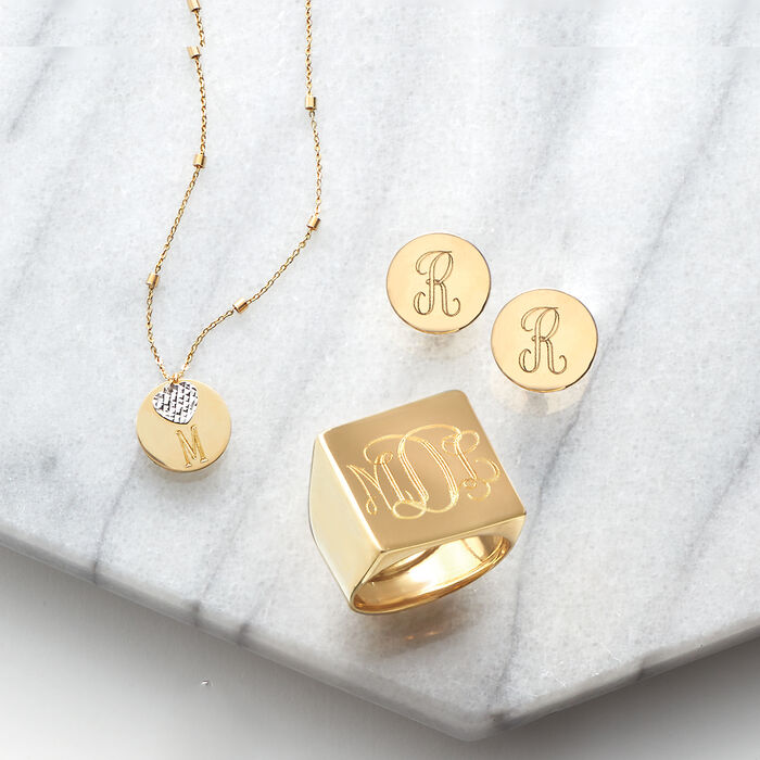 14kt Two-Tone Gold Single Initial Disc and Heart Drop Necklace