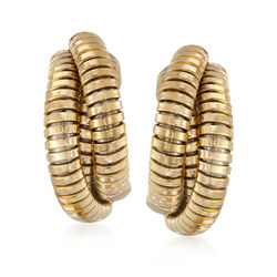 Italian 18kt Yellow Gold Ribbed J-Hoop Earrings, , default