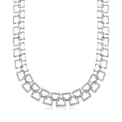 "C. 1990 Vintage 2.20 ct. t.w. Diamond Open Square Link Necklace in 14kt White Gold. 15.5"", , default"