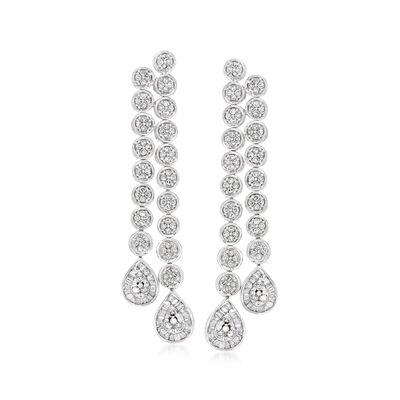 1.00 ct. t.w. Diamond Cluster Drop Earrings in 14kt White Gold