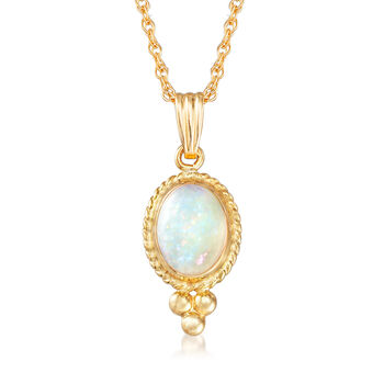"""Opal Pendant Necklace in 14kt Yellow Gold. 18"""", , default"""