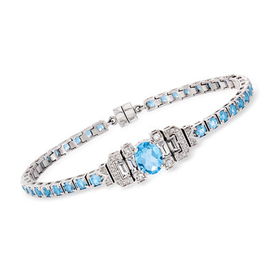6.20 ct. t.w. Swiss Blue Topaz and .90 ct. t.w. White Topaz Bracelet in Sterling Silver with Magnetic Clasp, , default