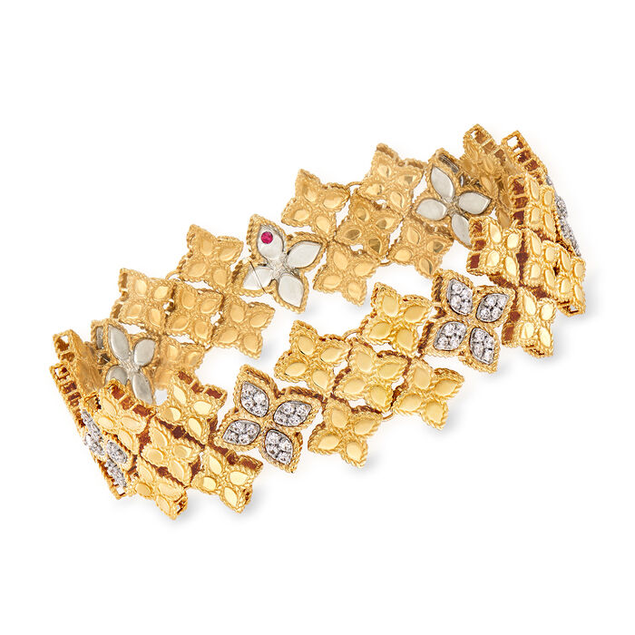 "Roberto Coin ""Princess"" 1.25 ct. t.w. Diamond Floral Bracelet in 18kt Two-Tone Gold. 7.25"", , default"