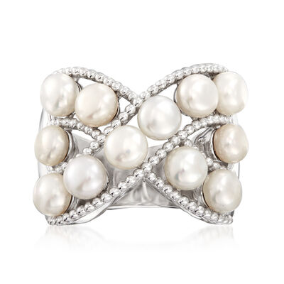 4-5mm Cultured Pearl Roped Crisscross Ring in Sterling Silver