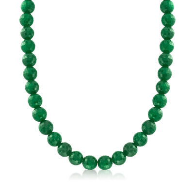 Faceted Green Jade Bead Necklace with Sterling Silver, , default