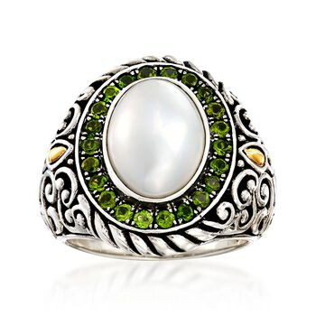 14x10mm Cultured Mabe Pearl and .80 ct. t.w. Chrome Diopside in Sterling Silver and 18kt Gold, , default
