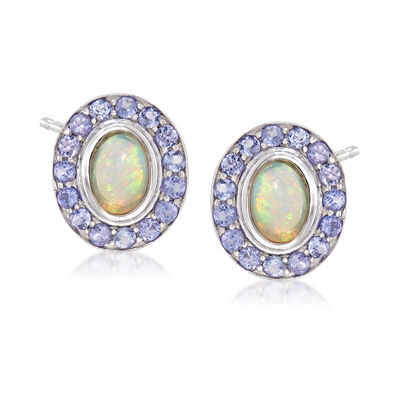 Opal and .90 ct. t.w. Tanzanite Earrings in Sterling Silver, , default