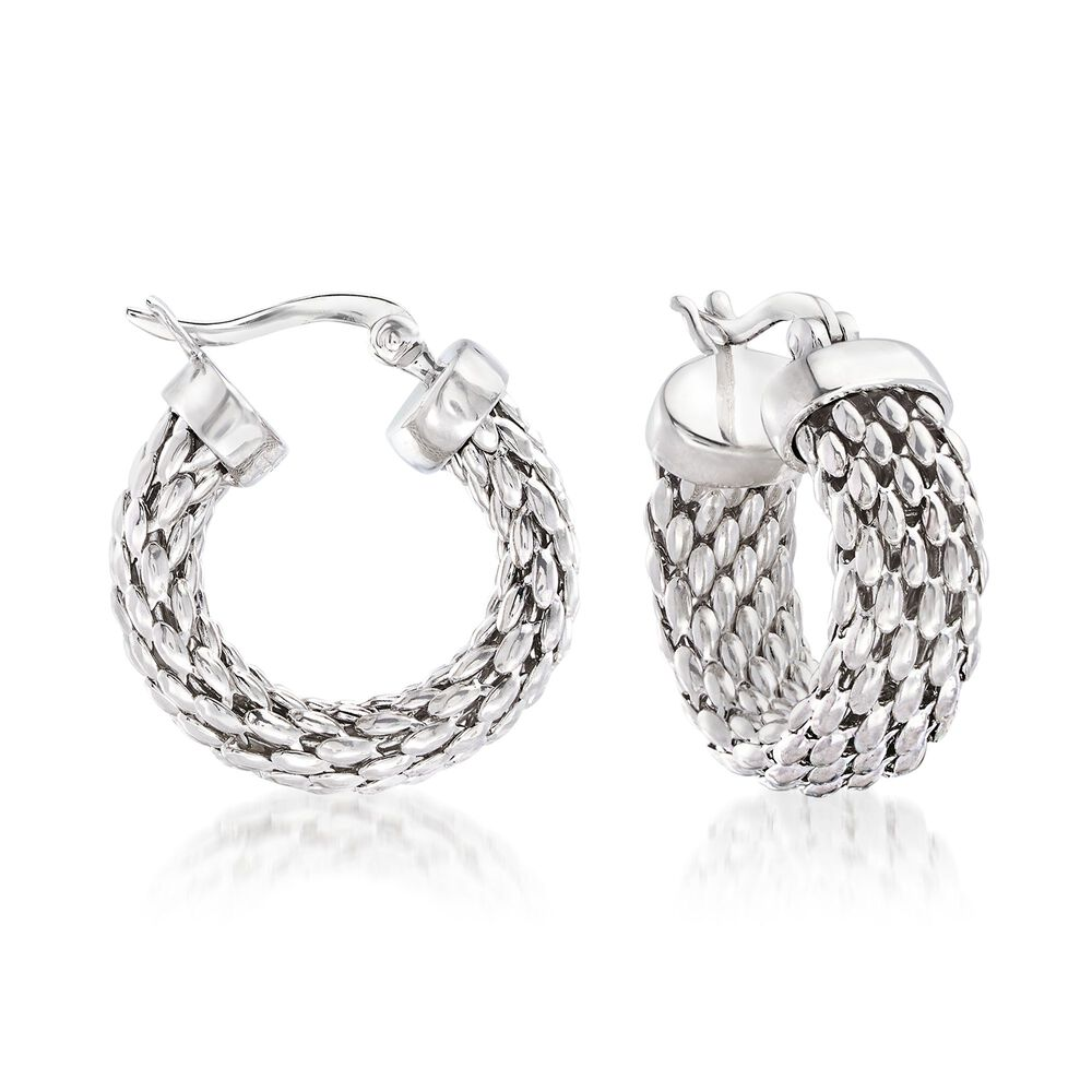 Sterling Silver Mesh Hoop Earrings 7 8 Default