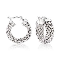 Sterling Silver Mesh Hoop Earrings, , default