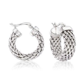 """Sterling Silver Mesh Hoop Earrings. 7/8"""", , default"""