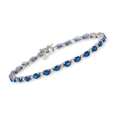 6.25 ct. t.w. Sapphire and .35 ct. t.w. Diamond Tennis Bracelet in 14kt White Gold, , default