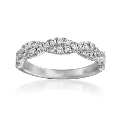 Henri Daussi .42 ct. t.w. Diamond Twisted Wedding Ring in 18kt White Gold, , default