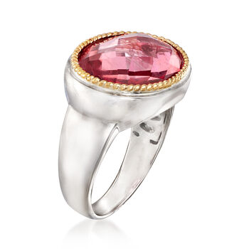 7.00 Carat Pink Quartz Ring in Sterling Silver and 14kt Yellow Gold, , default