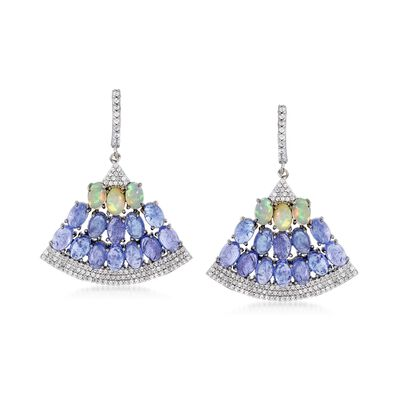 14.00 ct. t.w. Tanzanite and 1.70 ct. t.w. White Zircon Fan Drop Earrings with Opals in Sterling Silver