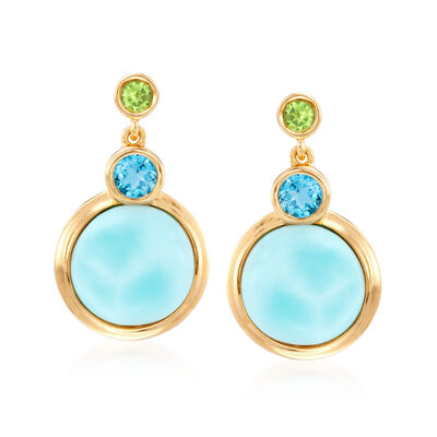 Larimar and .70 ct. t.w. Multi-Stone Drop Earrings in 18kt Gold Over Sterling, , default