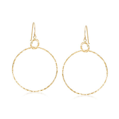 14kt Yellow Gold Double Interlocking Circle Drop Earrings, , default