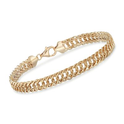 14kt Yellow Gold Double Oval-Link Bracelet, , default