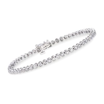 2.00 ct. t.w. Bezel-Set Diamond Tennis Bracelet in 14kt White Gold, , default