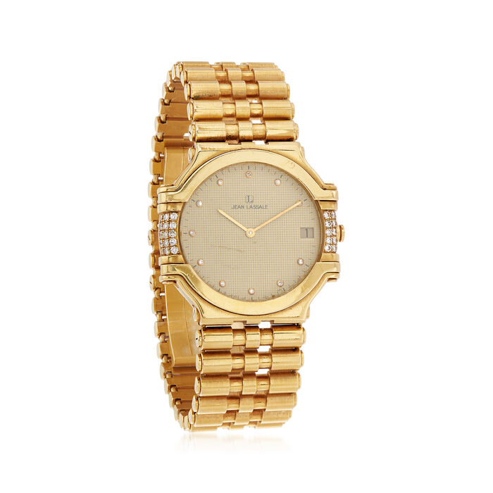 C. 1990 Vintage Jean Lassale Women's 30mm .38 ct. t.w. Diamond Quartz Watch in 18kt Yellow Gold. Size 7, , default