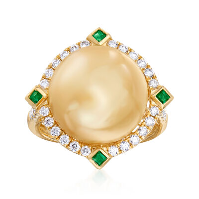 14-15mm Golden Cultured South Sea Pearl and .61 ct. t.w. Diamond Ring with .10 ct. t.w. Emeralds in 18kt Yellow Gold