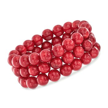Three Stretch Bracelets: Red Coral Bead Set, , default