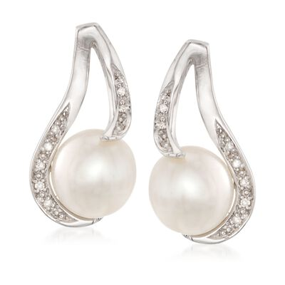 9-9.5mm Cultured Pearl Earrings with Diamond Accents in Sterling Silver
