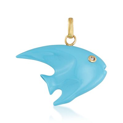 Carved Synthetic Turquoise Fish Pendant in 18kt Gold with Diamond Accent, , default