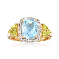 2.60 Carat Blue Topaz and .60 ct. t.w. Peridot Ring With .13 ct. t.w. Diamonds in 18kt Yellow Gold Over Sterling Silver, , default