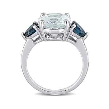 4.20 Carat Aquamarine and .90 ct. t.w. London Blue Topaz Ring with Diamond Accents in Sterling Silver