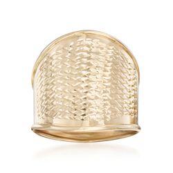 Italian 14kt Yellow Gold Wide Diamond-Cut Ring, , default