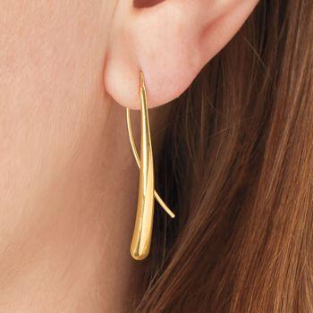 14kt Yellow Gold Long Teardrop Earrings , , default