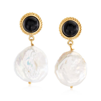 Italian 17-18mm Cultured Pearl and Black Onyx Drop Earrings in 18kt Gold Over Sterling, , default