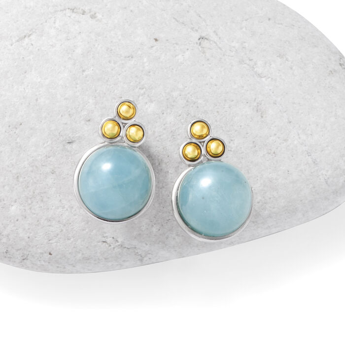 16.00 ct. t.w. Milky Aquamarine Earrings in Sterling Silver with 14kt Yellow Gold