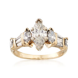 C. 1990 Vintage 1.40 ct. t.w. Diamond Engagement Ring in 18kt Yellow Gold, , default