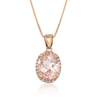 1.70 Carat Morganite Drop Necklace With Diamonds in 14kt Rose Gold, , default