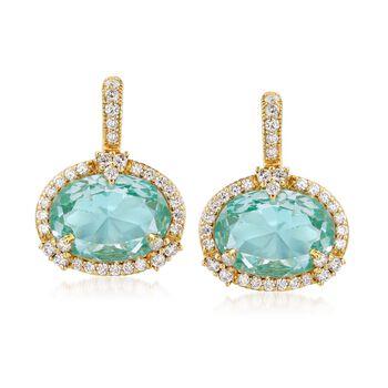 "Judith Ripka ""Monaco"" 10.00 ct. t.w. Aqua Spinel and .82 ct. t.w. Diamond Drop Earrings in 18kt Yellow Gold , , default"