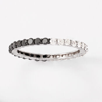 1.00 ct. t.w. Black and White Diamond Eternity Band in 14kt White Gold. Size 9, , default