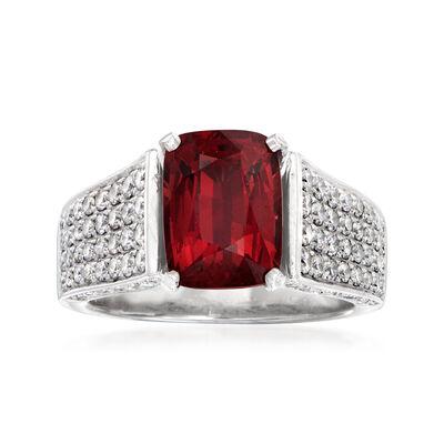 C. 1990 Vintage 3.75 Carat Garnet and 1.15 ct. t.w. Diamond Ring in 14kt White Gold