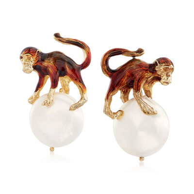 Italian 16mm Cultured Pearl Monkey Earrings in 18kt Gold Over Sterling, , default