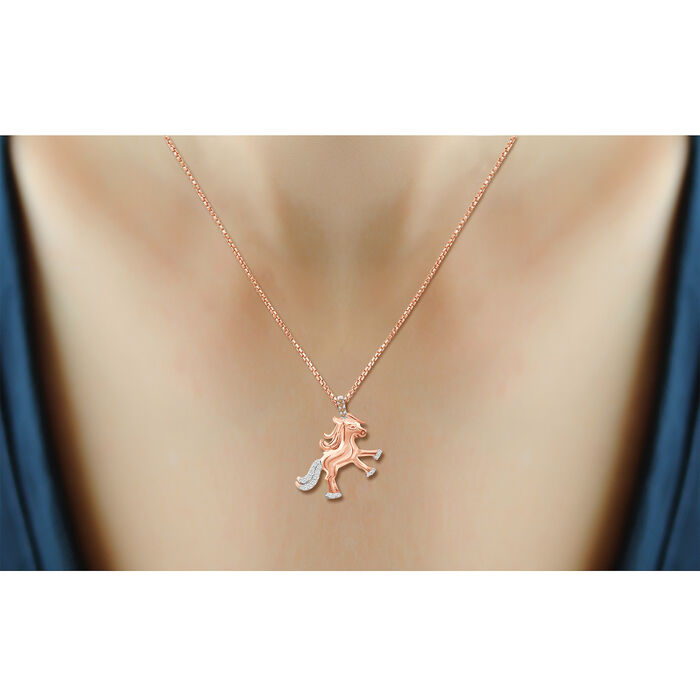 .10 ct. t.w. Champagne and White Diamond Unicorn Pendant Necklace in 18kt Rose Gold Over Sterling Silver