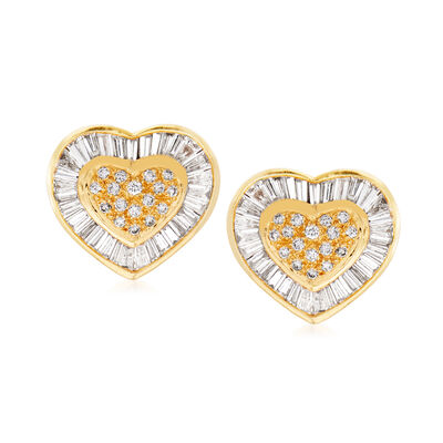 C. 1980 Vintage 2.00 ct. t.w. Diamond Heart Earrings in 18kt Yellow Gold, , default