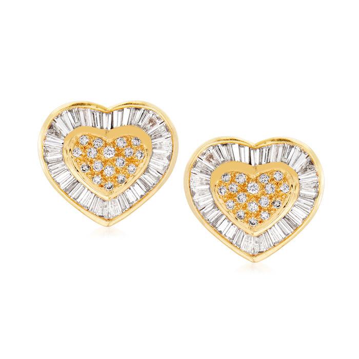 C. 1980 Vintage 2.00 ct. t.w. Diamond Heart Earrings in 18kt Yellow Gold, , default