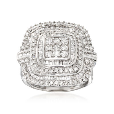 1.50 ct. t.w. Baguette and Round Diamond Ring in Sterling Silver, , default