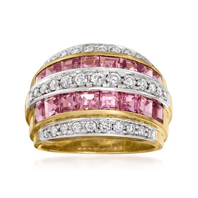 C. 1980 Vintage 2.50 ct. t.w. Pink Tourmaline and .40 ct. t.w. Diamond Multi-Row Ring in 18kt Yellow Gold