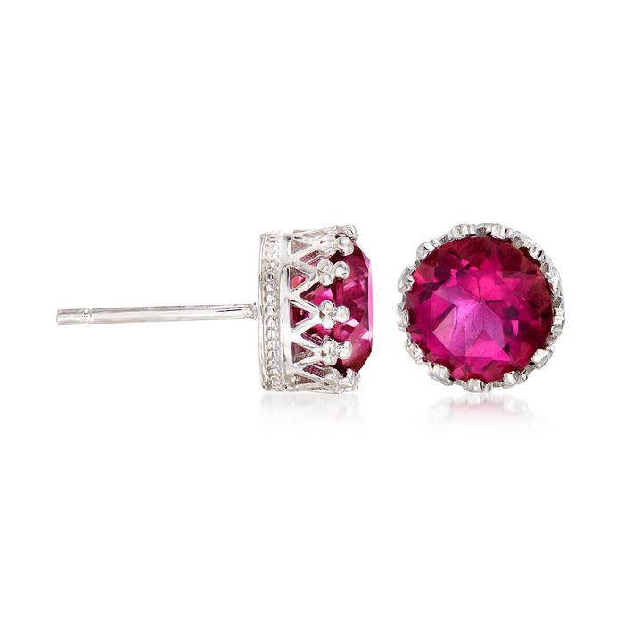 Pink Quartz Crown Stud Earrings in Sterling Silver