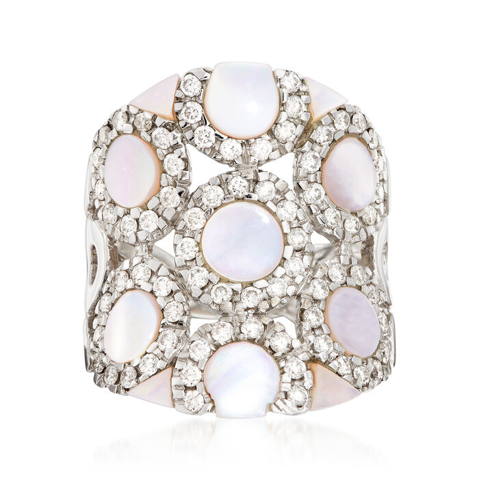 C. 1980 Vintage Mother-Of-Pearl and 1.14 ct. t.w. Diamond Circle Ring in 18kt White Gold. Size 6.5, , default