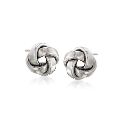 14kt White Gold Love Knot Stud Earrings